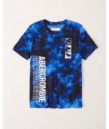 PRE-ORDER ONLY - Available 31ST March 2021 - Abercrombie Blue  Tie-Dye Graphic Logo Tee