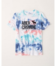 PRE-ORDER ONLY - Available 31ST March 2021 - Abercrombie Blue Multi Tie-Dye Embroidered Logo Graphic Tee