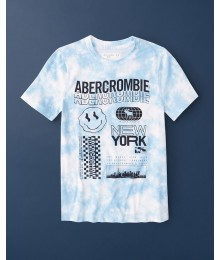 PRE-ORDER ONLY - Available 31ST March 2021 - Abercrombie Light Blue Dye Effect Pattern Logo Tee