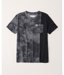 PRE-ORDER ONLY - Available 31ST March 2021 - Abercrombie Black Spliced Pattern Tee