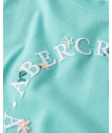 PRE-ORDER ONLY - Available 31ST March 2021 - Abercrombie Turquoise Green Knot-Front Embroidered Tee