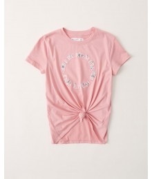 PRE-ORDER ONLY - Available 31ST March 2021 - Abercrombie Dark Pink Knot-Front Embroidered Tee