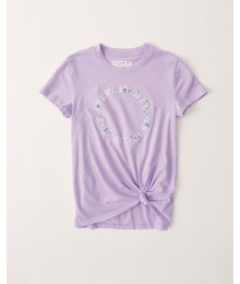 PRE-ORDER ONLY - Available 31ST March 2021 - Abercrombie Light Purple Knot-Front Embroidered Tee