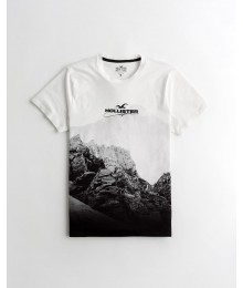 PRE-ORDER ONLY - Available 31ST March 2021 -  Hollister White To Black Print Logo Graphic Tee