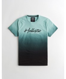 NEW ARRIVALS -  Hollister Green to Black Embroidered Logo Graphic Tee