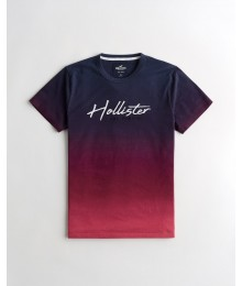 PRE-ORDER ONLY - Available 31ST March 2021 -  Hollister Navy to Burgundy Embroidered Logo Tee