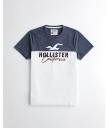 Hollister Navy Heather And White Applique Logo Graphic Tee
