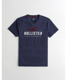 Hollister Navy Heather  Applique Logo Graphic Tee