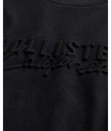 Hollister Black Embossed Logo Graphic Tee