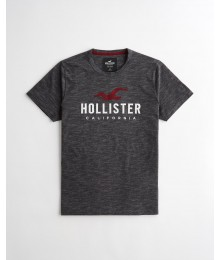 Hollister Black Heather  Applique Logo Graphic Tee
