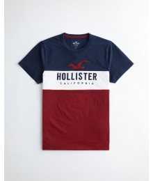 Hollister Navy White And Red Colorblock Applique Logo Graphic Tee