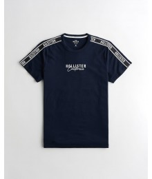 PRE-ORDER ONLY - Available 31ST March 2021 -  Hollister Navy Embroidered Logo Tee With Logo Shoulder Strip