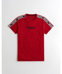 Hollisster Red Embroidered Logo Graphic Tee With Hollister Shoulder  Stripe