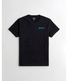 Hollister Black Print Logo With Logos At Back Tee