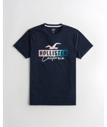Hollister Navy Ombre Print Logo Graphic Tee