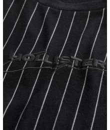 Hollister Black Grey Stripe Logo Graphic Tee