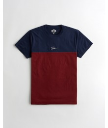 NEW ARRIVALS - Available 31ST March 2021 -  Hollister Navy & Burgundy Crewneck  T-Shirt