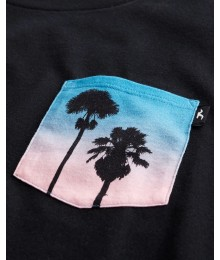 Hollister Black With Multi Color Tree Print Pocket Tee