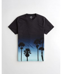 Hollister Navy To Light Blue Ombre Print Tee