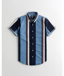 Hollister Blue Multi Stripe Poplin Slim Fit Shirt