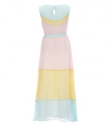 Rare Editions Yellow/Mint/Pink Pleated Colorblock Chiffon Long A-Line Dress