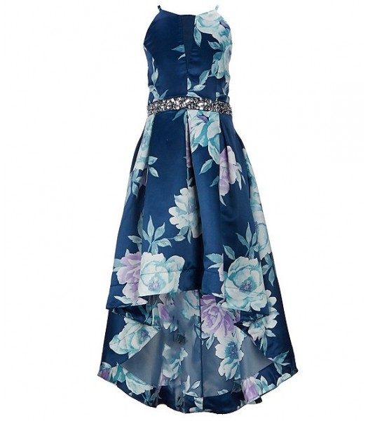Xtraordinary Navy/Lilac Floral Printed Jewelled Waist High Low Ball Gown