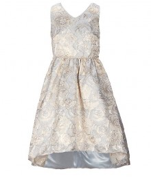Sweet Heart Rose Gold/Light Bluemetallic Brocade Hi-Low Dress