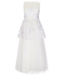 Bonnie Jean Lilac/Off White Illusion Floral Embroidered Peplum Ball Gown