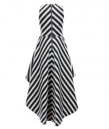 Gb Girls Black/Ivory Striped Hi-Low Dress