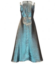 Tween Diva Aqua/Gold Metallic/Iridiscent/Two Tone Split Shoulder Walk Through Dress
