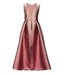 Tween Diva Magenta/Pink/Gold Metallic/Iridiscent/Two Tone Split Shoulder Walk Through Dress