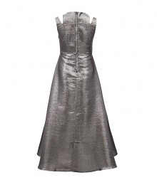 Rare Editions Grey/Silver Metallic Iridiscent/Two Tone Split Shoulder Walk Through Dress
