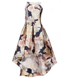 Xtraordinary Blush/Navy Floral Bow Waist Hi-Low Dress Big Girl