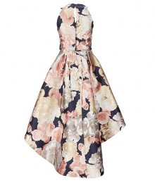 Xtraordinary Blush/Navy Floral Bow Waist Hi-Low Dress