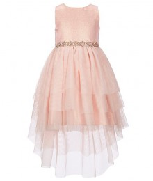 Rare Editions Peach Metallic Jacquard/Mesh High-Low Hem Fit And Flare Dress