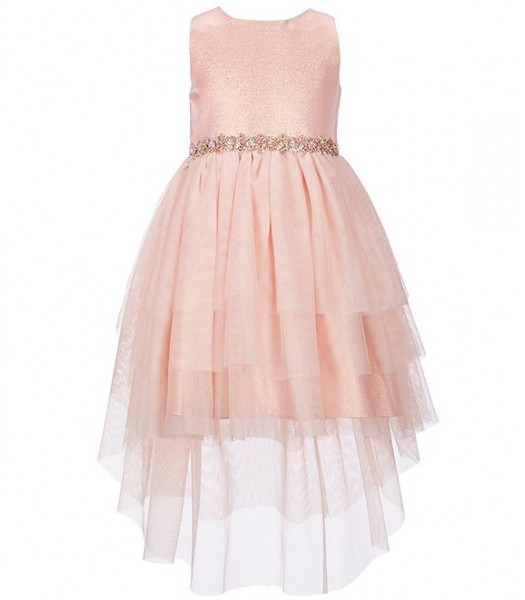 Rare Editions Peach Metallic Jacquard/Mesh High-Low Hem Fit And Flare Dress Little Girl