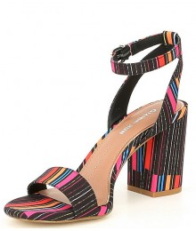 Gianni Bini Rainbow Multi Stripe Block Heel Sandals