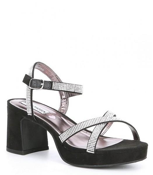 Steve Madden Black/Silver Block Heel Dress Sandals