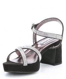 Steve Madden Black/Silver Block Heel Dress Sandals Shoes