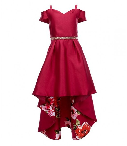 Rare Editions Wine Studded Waist Floral High Low Dress