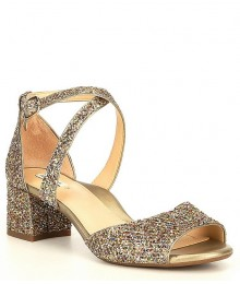 Alex Marie Gold Multi Two Glitter Block Heel Dress Sandals Shoes
