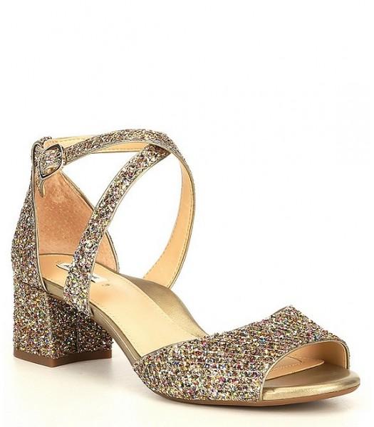 Alex Marie Gold Multi Two Glitter Block Heel Dress Sandals