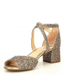 Alex Marie Gold Multi Two Glitter Block Heel Dress Sandals