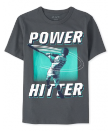 Childrens Place Grey Power Hitter Graphic Tee Little Boy
