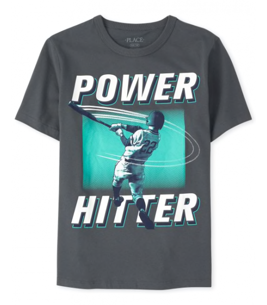 Childrens Place Grey Power Hitter Graphic Tee