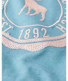 Abercrombie Turquoise Tie Front Sequin Logo Tee
