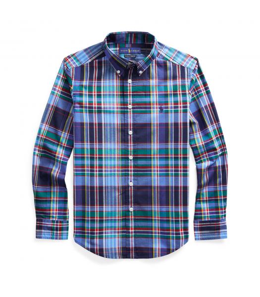 Polo Ralph Lauren Navy/Red Multi Plaid Cotton Poplin L/S Shirt
