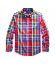 Polo Ralph Lauren Red Multi Plaid Cotton Poplin L/S Shirt