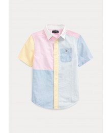Polo Ralph Lauren Blue/Yellow/Pink/Multi Small Pony Short Sleeve Shirt With White Collar