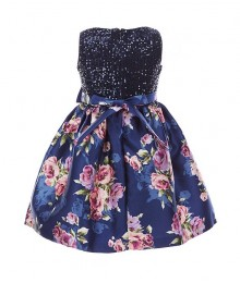 Bonnie Jean Navy Sequin To Mikado Floral Dress